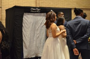 Prom photo booth rental, enclosed photo booth
