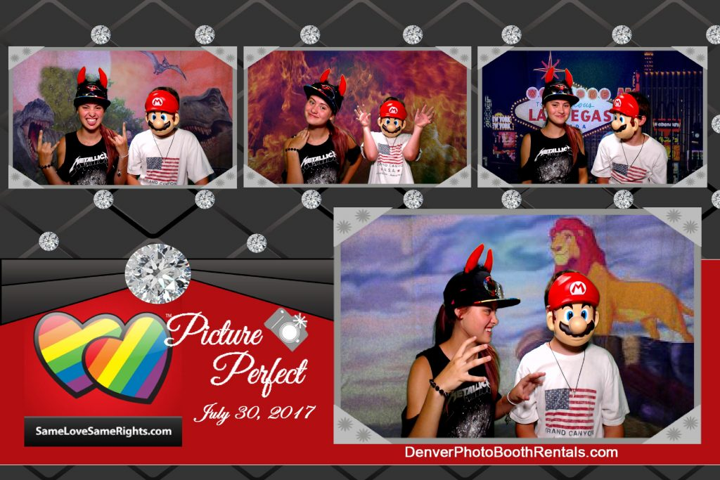 Kids using the photo booth