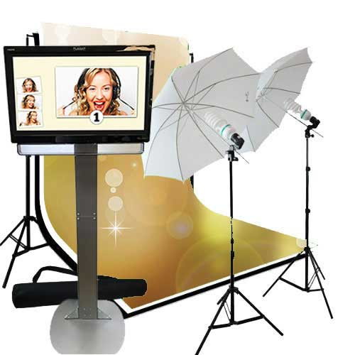 Open Air Photo Booth V2. Our Open Air Booth is a self contained photo booth with an open style of picture taking. Instead of sitting inside of a booth, people have their pictures taken in front of a large backdrop in front of the photo booth.